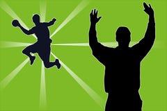 Handball players. The illustration shows handball players royalty free illustration