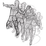 Handball players illustration on white background Royalty Free Stock Photography