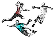 Handball players vector illustration Stock Image