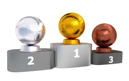Handball Podium with Gold Silver and Bronze Trophy Stock Photography