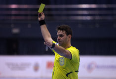 Handball Referee show yellow card Royalty Free Stock Photos