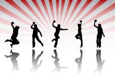 Handball silhouettes stock image