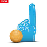 Handball Sports Fan Foam Fingers and ball. Symbol of Handball Sports Fan Foam Fingers and ball. Vector Illustration  on white background Royalty Free Stock Photography