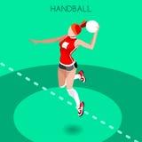 Handball Summer Games Icon Set.3D Isometric Athlete.Sporting Championship International Handball Competition. Sport Infographic Handball Vector Illustration Stock Photography