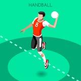 Handball Summer Games Icon Set.3D Isometric Athlete.Sporting Championship International Handball Competition. Sport Infographic Handball Vector Illustration Royalty Free Stock Photo