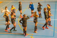 Handball Team Girl Teenagers Dancing at Court stock images