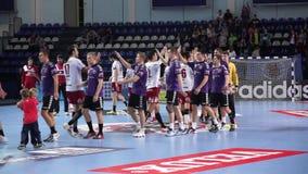 Handball teams greet each other stock video footage