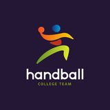 Handball vector sign. Abstract colorful silhouette of player for tournament logo or badge. Handball College team. Handball vector sign. Abstract colorful Stock Images
