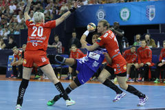 HANDBALL WOMEN EHF CHAMPIONS LEAGUE FINAL 4 – CSM BUCURESTI vs. ZRK VARDAR. Romanian CSM Bucuresti faced macedonian team ZRK Vardar in the semifinal of Royalty Free Stock Photos