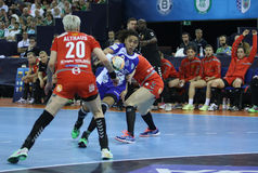 HANDBALL WOMEN EHF CHAMPIONS LEAGUE FINAL 4 – CSM BUCURESTI vs. ZRK VARDAR Royalty Free Stock Photos