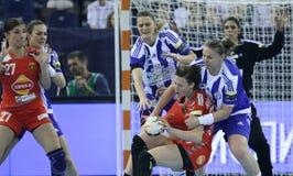 HANDBALL WOMEN EHF CHAMPIONS LEAGUE FINAL 4 – ZRK BUDUCNOST PODGORICA vs. ZRK VARDAR SKOPJE Royalty Free Stock Photos