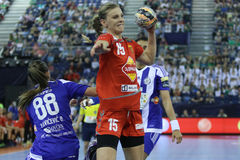 HANDBALL WOMEN EHF CHAMPIONS LEAGUE FINAL 4 – ZRK BUDUCNOST PODGORICA vs. ZRK VARDAR SKOPJE Royalty Free Stock Photo