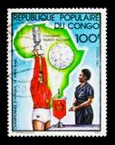 Handball wyzwanie Marien Ngouabi, zwycięzca z filiżanką, seria, około 1980 fotografia royalty free