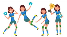 Handball Young Woman Player Vector. Girl Athlete. Throws Ball In Jump. Attack Figure. Flat Cartoon Illustration. Handball Player Female Vector. Player In Attack Royalty Free Stock Image