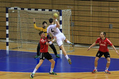 Handballjump-shot Stockbild