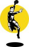 Handballspieler, der mit Kugel springt Lizenzfreies Stockbild