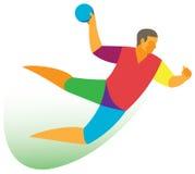 Handballspielerangriff Stockfotografie