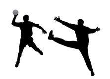 Handbalspeler en keeper Royalty-vrije Stock Afbeelding