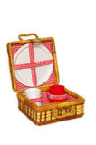 Handbasket de la comida campestre fotografía de archivo libre de regalías