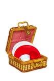 Handbasket do piquenique imagem de stock