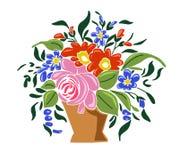 Handbasket med blommor Fotografering för Bildbyråer