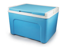 Handbediende blauwe geïsoleerde ijskast Stock Afbeelding
