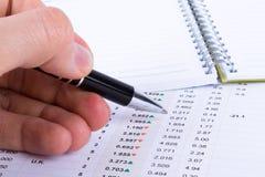 Handbehälter und Analysieren von Finanzdaten Stockfoto