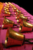 Handbells. Lined up for a performance Stock Photo