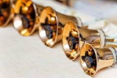 Handbells ready to play Royalty Free Stock Photos