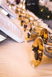 Handbells on table ready to perform Royalty Free Stock Images