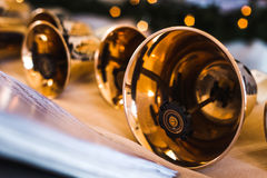 Handbells on table ready to perform Stock Images