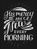 Handbeschriftung mit Bibelvers seine Gnade sind jeden Morgen auf schwarzem Hintergrund neu stock abbildung