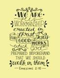 Handbeschriftung sind- wir seine Kunstfertigkeit, geschaffen in Christus für gute Arbeiten vektor abbildung
