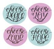 Handbeschriftung wählen Freude, Frieden, Liebe, Hoffnung vektor abbildung