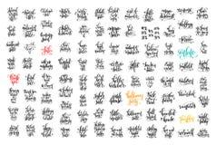 100 Handbeschriftungsaufschrift über Herbstverkauf und -halloween Lizenzfreie Stockfotografie