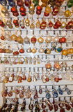 Handblown glass bulbs. MDINA, MALTA - SEPTEMBER 15, 2015: Handblown glass christmas decorations made by artisans in Mdina on display in Mdina glass store on Royalty Free Stock Photos