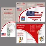 Handbok eller baner för handelsresande` s med en USA översikt, flagga och beståndsdelar royaltyfri illustrationer