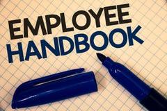 Handbok för anställd för handskrifttexthandstil Ord för text två för kod för politik för resehandbok för regler för reglemente fö Royaltyfria Foton