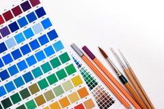Handbok för färgdiagram till idérika färgkombinationer Fotografering för Bildbyråer