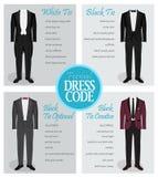 Handbok för kod för formell klänning för män royaltyfri illustrationer