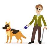 Handbok-hund blind hundhandbokman Begrepp för blind person för handikapp Plant tecken som isoleras på vit bakgrund stock illustrationer