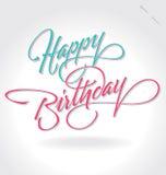"""Handbokstäver """"för lycklig födelsedag"""" Royaltyfri Fotografi"""