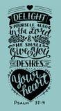 Handbokstäver med bibelversfröjd själv också i Herren och honom ska ge dig lust av din hjärta psalm royaltyfri illustrationer