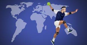 Handbollman med världskartan arkivfoto