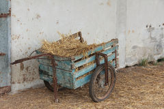 Handcart. Old wagon to haul hay Stock Photo