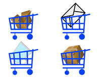 Handcart and commodity. Handcart and different commodity on white background Royalty Free Stock Photos
