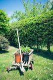 Handcart with flowerpot Stock Photo