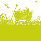 Handcart in overgrown garden Stock Photo
