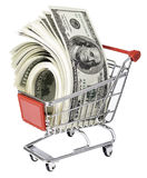 Handcart with pack of dollars Stock Photo