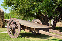 Handcart under big tree on field Royalty Free Stock Image